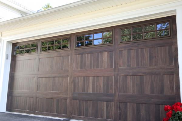 Stamped Carriage House in Mahogany w-Stockton Windows